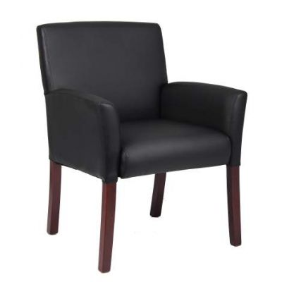 Box Arm Guest Chair with Mahogany Finish - B619