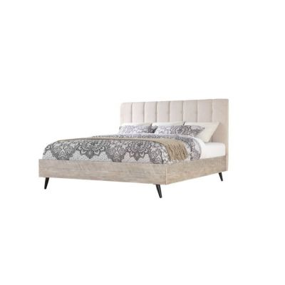 Nova King Bed in Sterling Gray-Black Metal Legs - B700-14-K