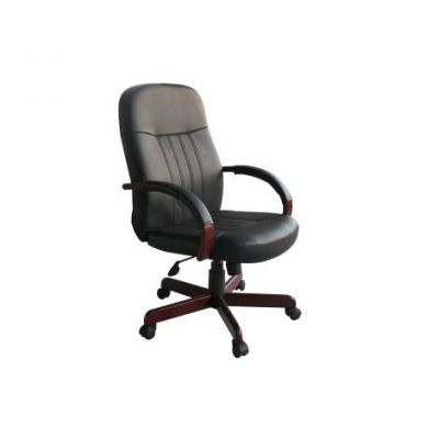 LeatherPlus Exec. Chair with Mahogany Finish - B8376-M