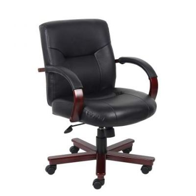 Executive Leather Mid Back Chair with Mahogany Finished Wood - B8906