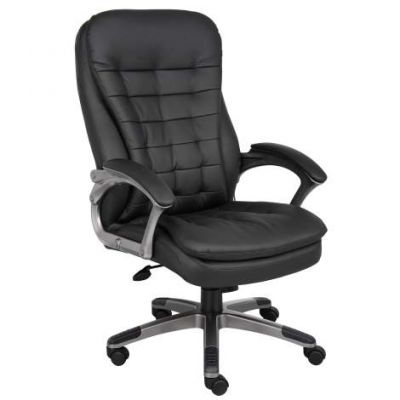 High Back Executive Chair With Pewter Finished Base/Arms - B9331