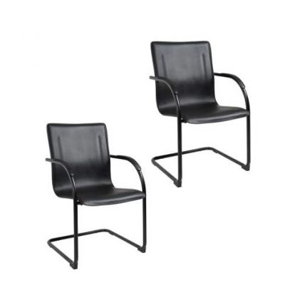 Black Frame Black Vinyl Side Chair(Set of 2) - B9535-2