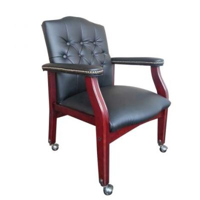 Traditional Black Caressoft Guest Chair with Mahogany Finish - B958M-BK