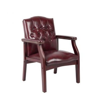 Traditional Oxblood Vinyl Guest Chair with Mahogany Finish - B959-BY