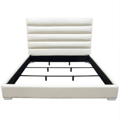 Bardot Channel Tufted Eastern King Bed in White Leatherette - BARDOTEKBEDWH