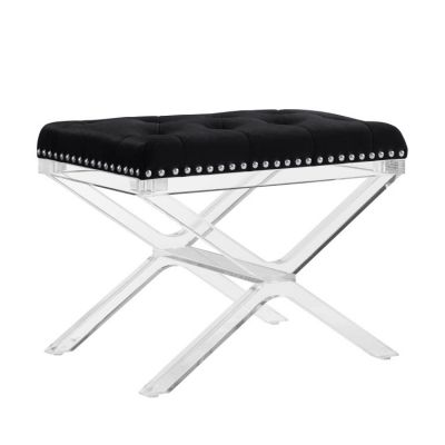 Kelsi X Base Black Vanity Bench with Acrylic Legs - BH079BLK01U