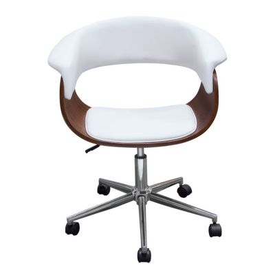 Cove Castered Office Chair in White PU w/ Molded Bamboo Seat - COVECHWH