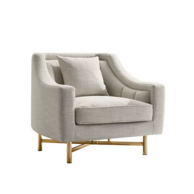 Croft Fabric Chair in Sand Linen Fabric w/ Accent Pillow - CROFTCHSD