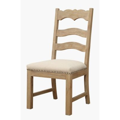 Barcelona Ladderback Side Chair upholstered Seat in Natural - D551-22