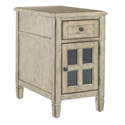 Drayton Side Table with Power in Gold Stone - DRYAC-YM75