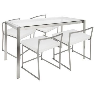 Fuji Stoneberry Dining Set - DS-FUJI47-W-CL