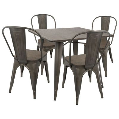 Oregon 5 Piece Stoneberry Dining Set in Antique Espresso - DS-OR5-AN-E