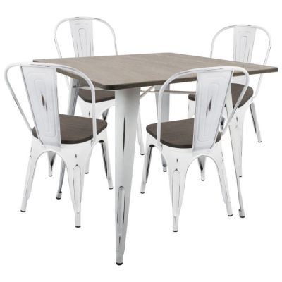 Oregon 5 Piece Stoneberry Dining Set in White Espresso - DS-OR5-VW-E