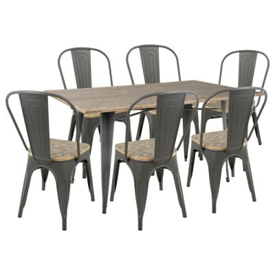 Oregon Stoneberry Dining Set in Grey - DS-OR7-GY-BN