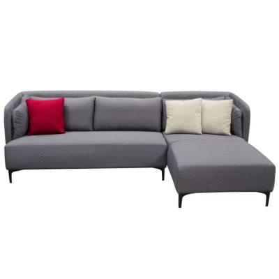 Dylan RF 2PC Sectional in Grey Diamond Quilted Fabric - DYLANRF2PCSECTGR