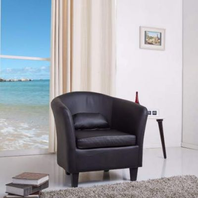Denton Black Club Chair - ADC-DEN-CHA-PUX-BLK