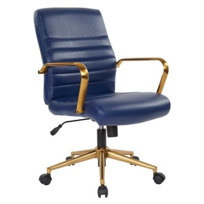 Baldwin Mid-Back Faux Leather Chair in Navy - FL22991G-U5