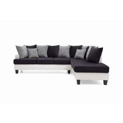 Domino Reversible Chaise Sectional in White/Black Velvet - VEN060-G220-SC