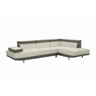 Tufted Design Milan Sectional In White/Gray - G478-SC