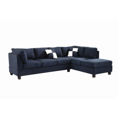 Comfortable Tufted Sectional In Navy Blue Suede (2 Boxes) - G630B-SC