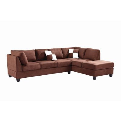 Comfortable Tufted Sectional In Chocolate Suede (2 Boxes) - G632B-SC