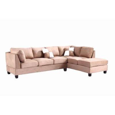 Comfortable Tufted Sectional In Mocha Suede (2 Boxes) - G634B-SC