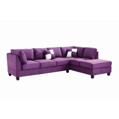 Comfortable Tufted Sectional In Purple Suede (2 Boxes) - G637B-SC