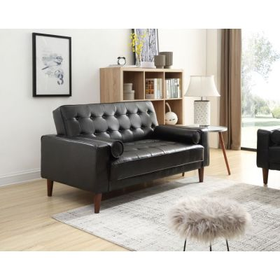 Navi Sleeper Aaron's Loveseat in  Black Faux Leather - G843A-L
