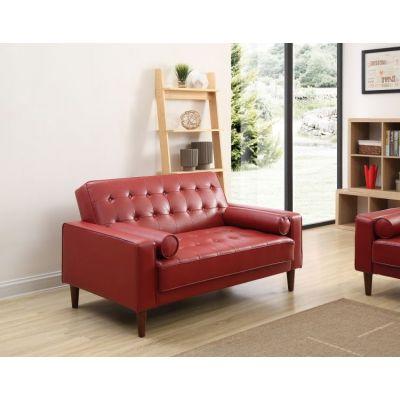 Navi Sleeper Ashley Sofa in  Red Faux Leather - G849A-S