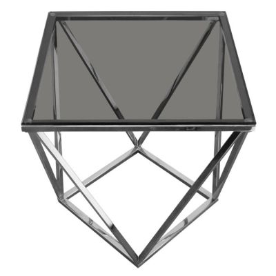Gem End Table with Smoked Tempered Glass Top and Steel Base - GEMETSL