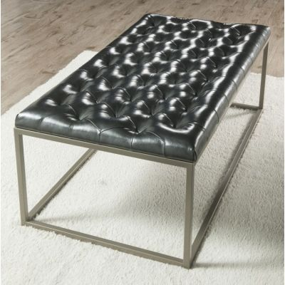 Glenda Upholstered Cocktail Table Metallic Charcoal Gray - GL250CB