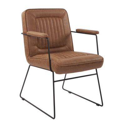 GT Chair in Sand Faux Leather with Black Sled Base - GTC-P42