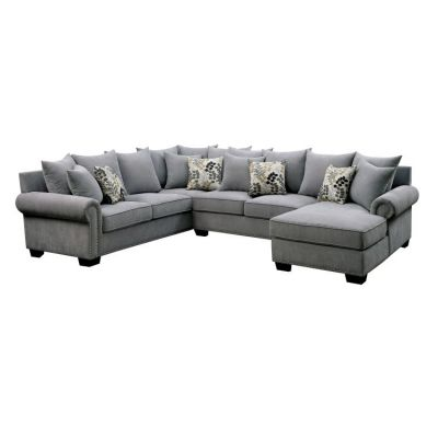 Nylah Fabric Padded Chaise Sectional in Gray - IDF-6156GY-SEC