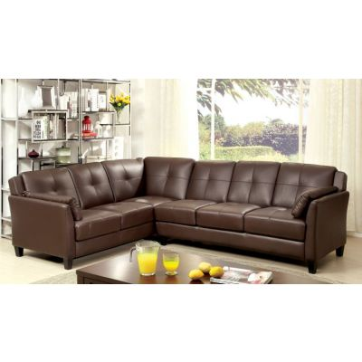 Noah Tufted Leatherette Sofa Sectional in Brown - IDF-6268BR