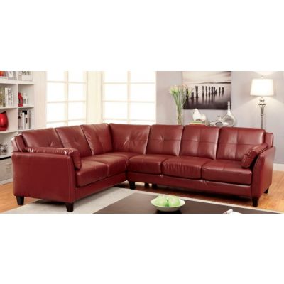 Noah Tufted Leatherette Sofa Sectional in Red - IDF-6268RD