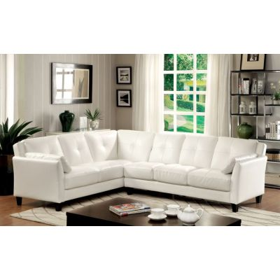 Noah Tufted Leatherette Sofa Sectional in White - IDF-6268WH