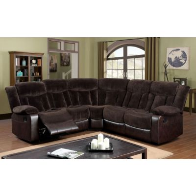 Vernon Champion Fabric and Leather Recliner Sectional - IDF-6809-SEC