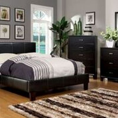 Ameena Leatherette Full Platform Bed in Espresso - IDF-7008F