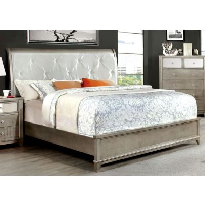 Robles Padded Leatherette King Bed in Silver - IDF-7288SV-EK
