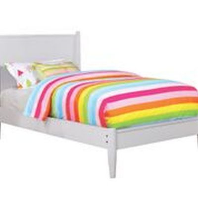 Silvan Twin Platform Bed in White - IDF-7386WH-T