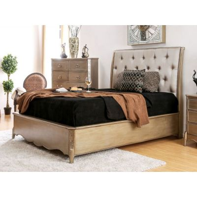 Mica Padded Leatherette Cal.King Bed - IDF-7432CK