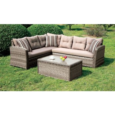 Nola L-Shaped Outdoor Patio Sectional and Coffee Table Set - IDF-OS1816-SET