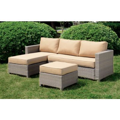Vilma Outdoor Patio Chaise Sectional and Ottoman Set - IDF-OS1830