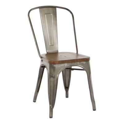 Indio Metal Chair with Wood Seat in Walnut - IND29A4-C209-1