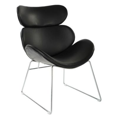 Jupiter Chair in Black Faux Leather with Chrome Base - JUP-B18