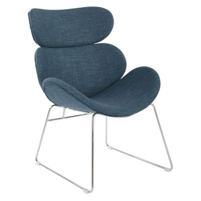Jupiter Chair in Indigo with Chrome Base - JUP-M36