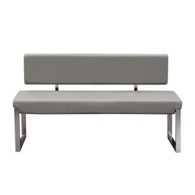 Knox Bench w/Back & Stainless Steel Frame, Grey - KNOXBBEGR