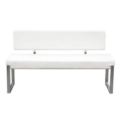 Knox Bench w/Back & Stainless Steel Frame, White - KNOXBBEWH