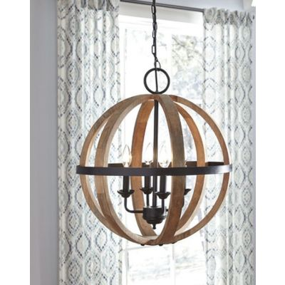 Emilano Wood Pendant Light in Black & Natural - L000478