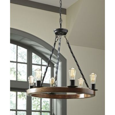 Plato Wood Pendant Light in Brown & Black - L000658